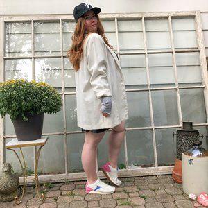 Vintage 80s Linen Oversized Blazer Jacket